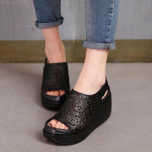 de Sandalias Primera Velcro con Verano Altos Hueca de Sandalia Cuero de 37 Suela Negro con Capa Tacones DHG xqwIZ6P0U