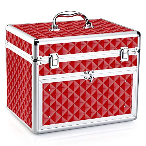 Makeup Case - Professional Portable Aluminum Cosmetic Storage Organizer For Nail Polish Artist With Drawer and Dividers Crystal Red
