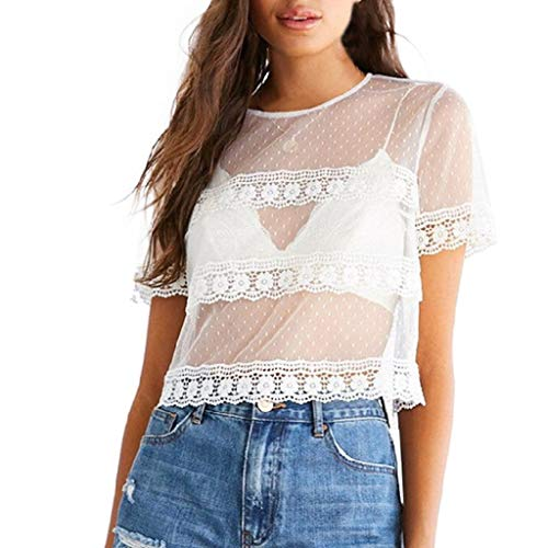 Price comparison product image Women Fashion Casual Crochet Mesh Lace T Shirt Short Sleeve Round Neck Sheer See Through Sexy Blouse Crop Top White