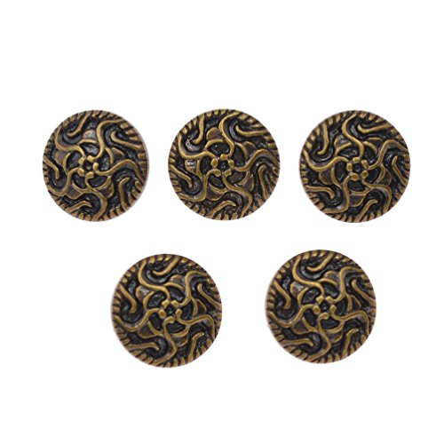 (Vintage British Style Buttons Flower Carved Shank Buttons Clothes DIY Craft 10Pc)