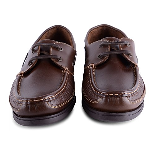 Footwear Sensation - Náuticos de sintético para hombre Brown Helmsman Lace Up