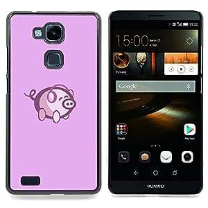 GIFT CHOICE / Teléfono Estuche protector Duro Cáscara Funda Cubierta Caso / Hard Case for HUAWEI Ascend MATE 7 // Cute Pink Music Pig //