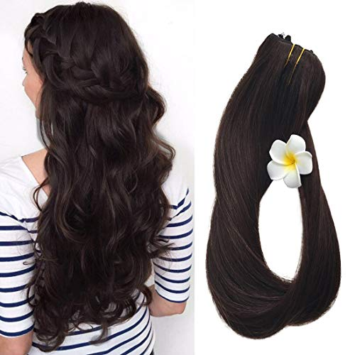Clip in Hair Extensions Real Human Hair Extensions Dark Brown 20 7 PCS Full Head Silky Straight 70g Remy Hair (20, #2)