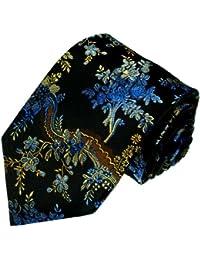 LORENZO CANA - Luxury Italian 100% Silk Tie Jacquard Woven Black Blue Floral - 84245