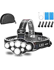 Headlamp,Brightest 18000 Lumen 8 LED 8 Modes Headlight with Red Warning Lihgt,USB Rechargeable Waterproof Headlight Flashlight,Super Bright Headlamp Flashlight for Camping,Fishing,Cellar,Outdoors