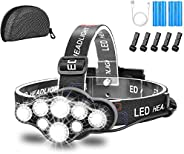 Headlamp,Brightest 18000 Lumen 8 LED 8 Modes Headlight with Red Warning Lihgt,USB Rechargeable Waterproof Head