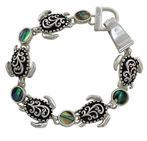 Circle Link Magnetic Clasp Bracelet - Silver Plated Sea Turtle and Abalone Charm Bracelet with Magnetic Closure, 7.5 Inches Long