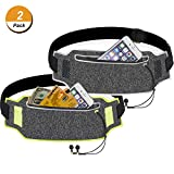 TecUnite 2 Pieces Running Belt Waist Pack Sport Accessories for Jogging Cycling Fitness, Reflective Waist Bag with Built-in Pocket and Earplug Hole for iPhone X/6/7/8 and More