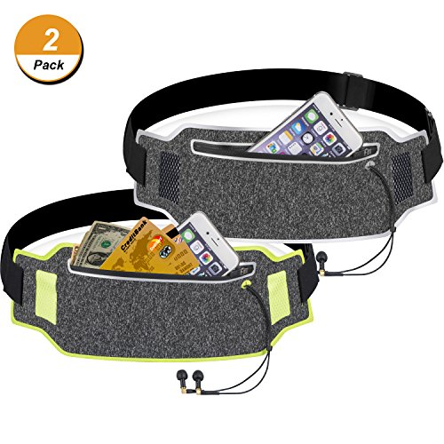 TecUnite 2 Pieces Running Belt Waist Pack Sport Accessories for Jogging Cycling Fitness, Reflective Waist Bag with Built-in Pocket and Earplug Hole for iPhone X/6/7/8 and More by TecUnite