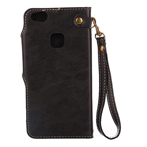 COWX Huawei P10 Lite Hülle Kunstleder Tasche Flip im Bookstyle Klapphülle mit Weiche Silikon Handyhalter PU Lederhülle für Huawei P10 Lite Tasche Brieftasche Schutzhülle