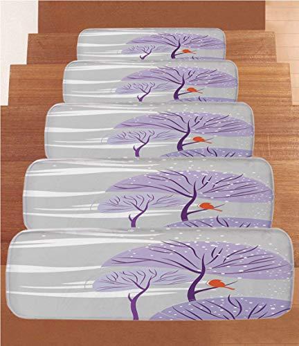iPrint Non-Slip Carpets Stair Treads,Winter,Seasonal Conceptual Artwork Purple Trees Snowy Weather Cute Bird Animal Decorative,Dust Purple Orange,(Set of 5) 8.6''x27.5'' by iPrint