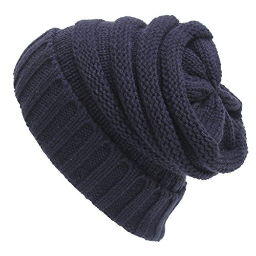 [YCHY Trendy Warm Chunky Soft Knit Hat Stretch Cable Slouchy Beanie Cap (Navy blue)] (Turban And Beard Costume)
