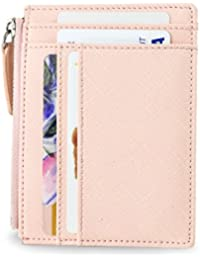 Womens Wallet Rfid Blocking Credit Card Holder Slim Minimalist Wristlet Card Case Wallet with Zipper Pocket