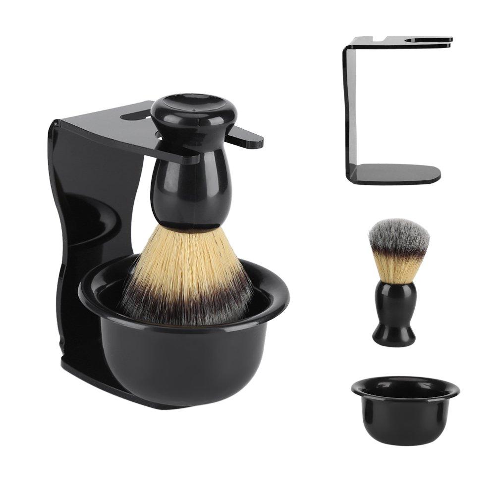 3 in 1 Professional Men Shaving Set, Badger Hair Shaving Brush, Shaving Razor Holder Stand and Stainless Steel Shaving Bowl Zerodis