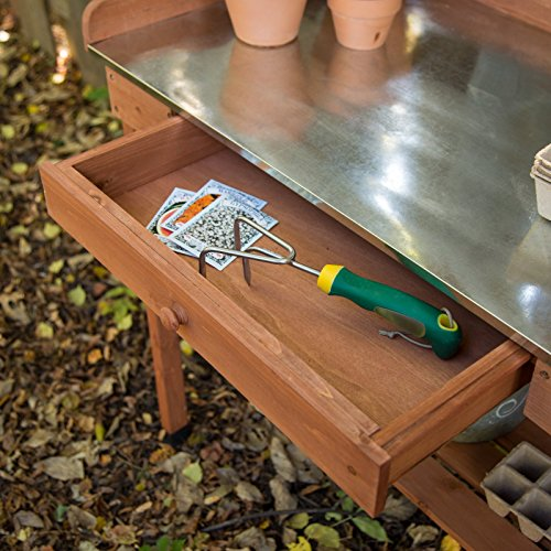 Cypress Wood Potting Bench With Metal Top 6cows