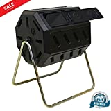 Garden Composter Outdoor Rotating Compost Bin Double Leg Stand with Removable Door Easy Opening Dual Chamber 37-gallon Organic Waste Compost Container & eBook by BADA shop