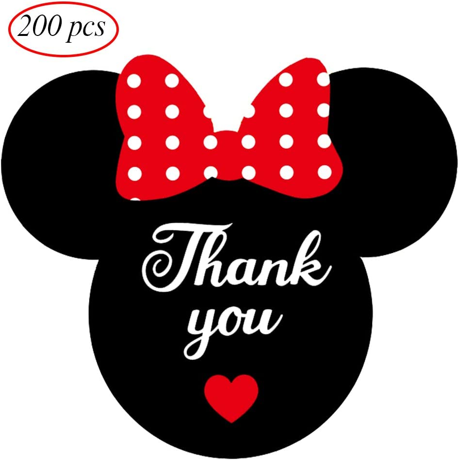 Mickey Stickers Thank You Labels with Heart for Birthday Baby Shower Party Thank You Cards Envelope Seals 300 Labels//Pack 2.25 x 2 Mickey//Minnie Mouse Thank You Stickers