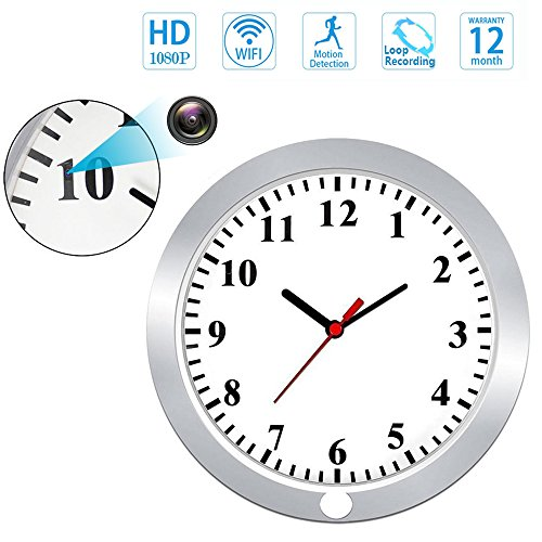 ZDMYING HD 1080P WIFI Wall Clock Spy Hidden Camera Suppert Loop Recording/Motion Detection/Remotely View/Global Monitoring, for IOS/Android/PC