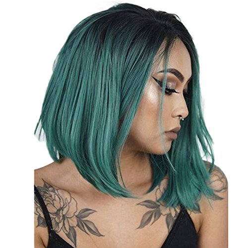netgo Fashion Ombre Wig Short straight Heat Resistant Synthetic Bob Hair Wig for Women (Ombre (Wig Green)