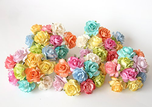 ScrapFlowers 50 Tea Paper Rose Flowers for Scrapbooking in Mixed Colors, Wedding and Baby Shower Decorations, Favours DIY (3 cm Diameter)