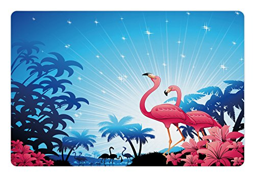 Tropical Pet Mats for Food and Water by Lunarable, Nature Scene Exotic Flowers and Palm Tree Silhouettes and Flamingos Wildlife, Rectangle Non-Slip Rubber Mat for Dogs and Cats, Pink Blue White (Flamingo Silhouette)