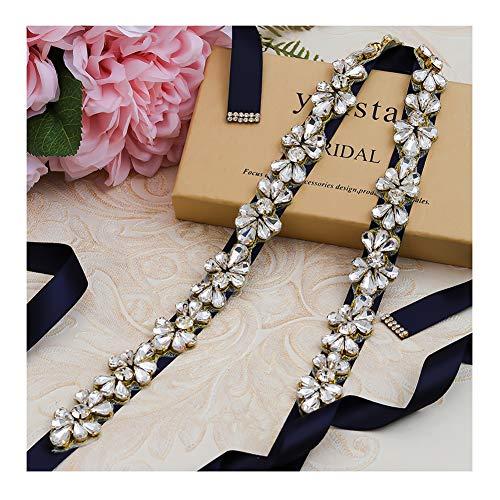 Yanstar Navy Blue Ribbon Wedding Bridal Belt and Sash Gold Rhinestone Clear Crystal for Women Bridesmaid Dress Prom Belt]()