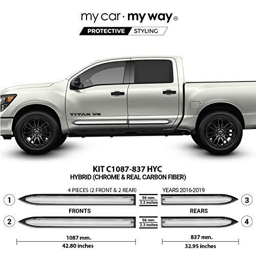 - MY CAR MY WAY (Fits) Nissan Titan 2016-2019 5.6' Box Crew Hybrid Body Side Molding Cover Trim Door Protector