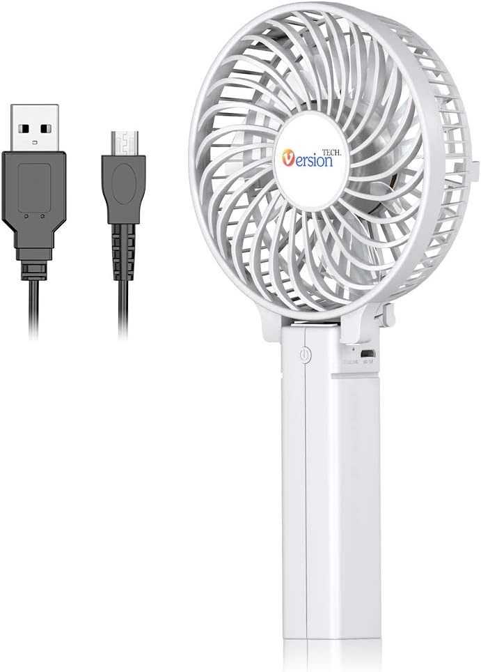 VersionTECH. Mini Handheld Fan, Personal Portable Desk Table Fan with USB Rechargeable Battery Operated Cooling Folding Electric Fan for Office Room Outdoor Household Traveling White