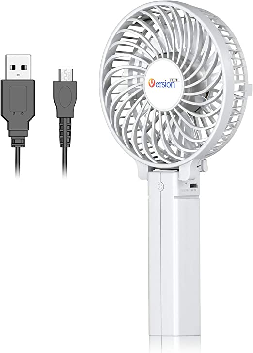 Mini USB Table Desk Personal Fan Portable Electric Handheld USB Rechargeable Pocket Fan Metal Design Quiet Operation USB Cable Fan 2 Speed Travel//Home//Personal Fan Cooling