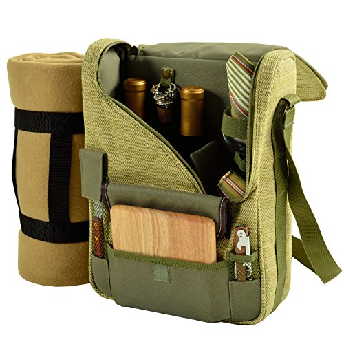 Picnic at Ascot - Wine Carrier Deluxe with Glass Wine Glasses, Blanket, Accessories for Two, Olive Tweed