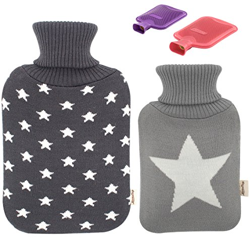 Premium Classic Rubber Hot Water Bottle and Star Print Knit Cover (2L + 1L, Dark Gray + Light Gray)