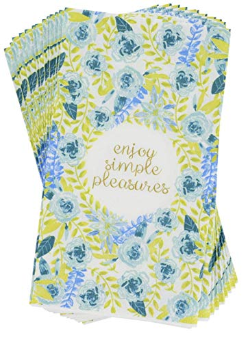 Spring Fling Sentiment Collection Blue Floral Simple Pleasures Guest Towels Buffet Napkins, 14 ct