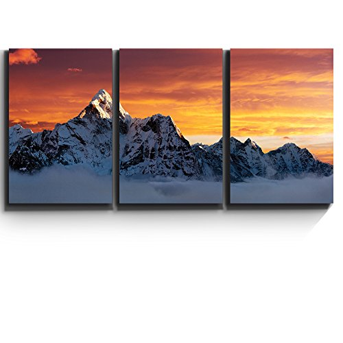 3 Piece Canvas Print - Contemporary Art, Modern Wall Decor - Ama Dablam on the way to Everest - Giclee Artwork - Gallery Wrapped Wood Stretcher Bars - Ready to Hang- Wall26 - 16