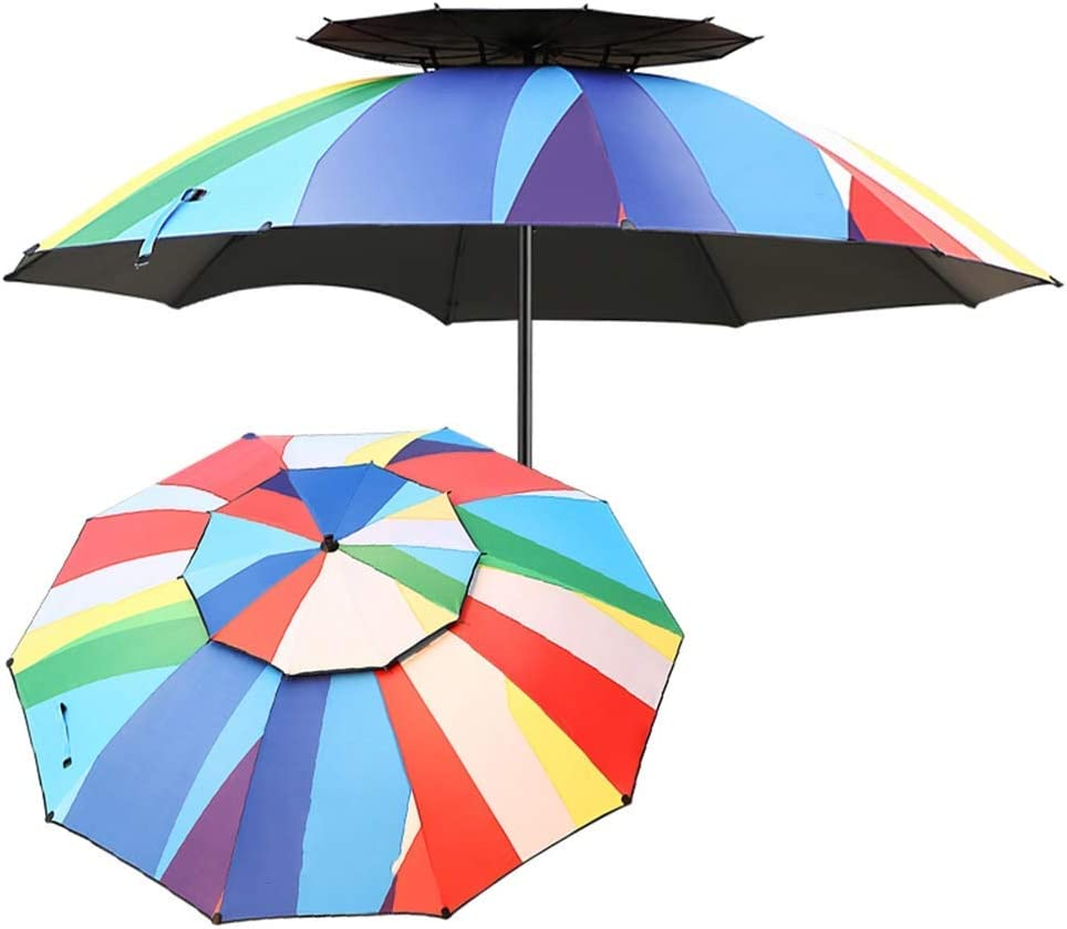 ZXYY Double top Garden Umbrella with Inclined Aluminum Handle Rustproof Market Umbrella for Balcony Patio Fishing Courtyard (Color: 220 cm (7.2 feet))
