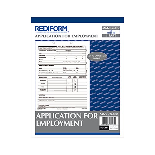 Rediform Application For Employment  8 5 X 11 Inches  50 Forms Per Pad  M660 26Nr