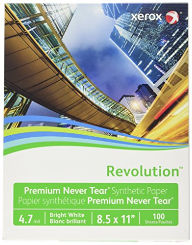 "Xerox Revolution Synthetic Paper (XER3R20031), 4.7 mil, 8.5"" x 11"", 100 Sheets/Box"