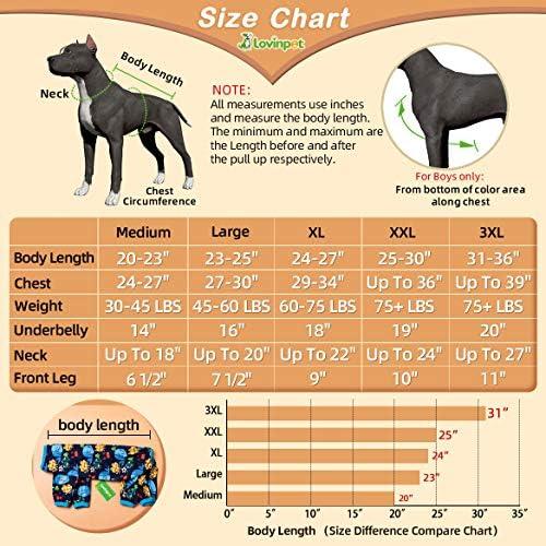 LovinPet Pijamas para perros grandes / Jersey elástico estampado de punto con estampados de la familia marina / Pijamas ligeros para mascotas / Pijamas para perros de cobertura completa Mono para perros grandes 6
