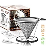 Goodiez Reusable Coffee Filter Mesh-Pour over Coffee Dripper Cone-Clever Pour over Coffee Maker-Stainless Steel Drip Brewer Kit-Metal Coffee Strainer Pourover Compatible with Chemex, Hario V60, Bodum