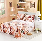 Wecomeuni 3D Print Duvet Cover Luxury Pillow Cases Bed Sheets 4PC Set (Glod)