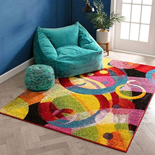Bubble Bright Multi Circles Yellow Blue Red Abstract Geometric Lines Area Rug 8×10 7'10″ x 9'10″ Easy Clean Stain Resistant Shed Free Modern Contemporary Brush Stroke Painting Art Boxes Thick Soft