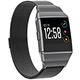 Fitbit Ionic Bands Metal Small Large, SnowCinda Stainless Steel Milanese Magnetic Replacement Sprot Strap Accessories for Fitbit Ionic Smart Watch Women Men, Black (black, Small)