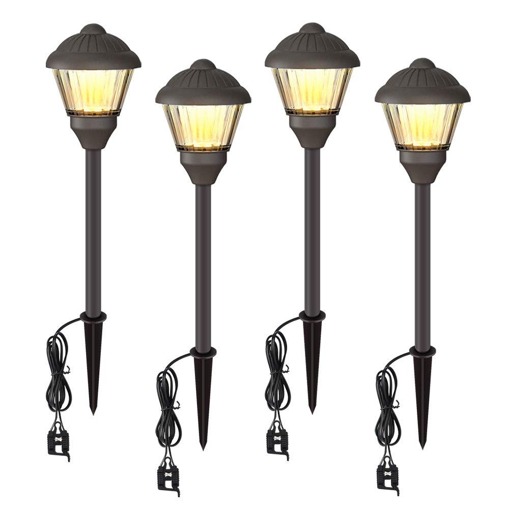 VOLISUN Low Voltage Landscape Lights Electric 12V Waterproof Outdoor Lights Warm White LED Yard Light Decor Garden Led Pathway Lighting for Lawn Path,Walkway Outside Lamps 4 Packs by VOLISUN