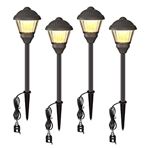 VOLISUN Low Voltage Landscape Lights Electric 12V Waterproof Outdoor Lights Warm White LED Yard Light Decor Garden Led Pathway Lighting for Lawn Path,Walkway Outside Lamps 4 Packs
