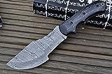 Cheap Hunting Knives with Leather Sheath Damascus Blade (Pakka Wood)