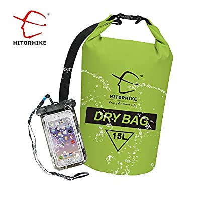 Dry Bag -HITORHIKE 15L 25LWaterproof Dry Bag- Roll Top Dry Compression Sack Keeps Gear Dry for Kayaking, Beach, Rafting, Boating, Hiking, Camping and Fishing with Waterproof Phone Case …