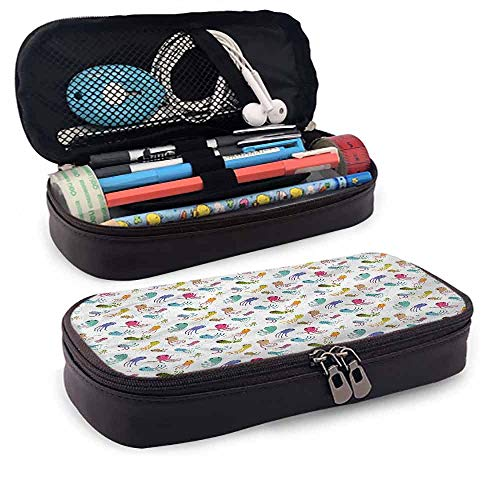 Pencil Pouch, Pencil Bag, Pencil Case, Big Capacity Smooth Zippers Octopus Maritime Cartoon Style from Tehllik