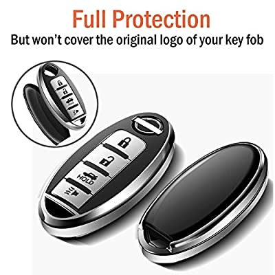 COMPONALL for Nissan Key Fob Cover, Key Fob Case for Nissan Altima Sentra Maxima Rogue Armada Pathfinder Infiniti Premium Soft TPU Full Cover Protection Smart Remote Keyless(for 4 Button only),Blue: Automotive