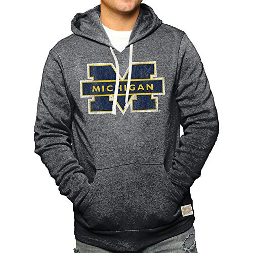 Elite Fan Shop Michigan Wolverines Retro Hoodie Sweatshirt Charcoal - XXL