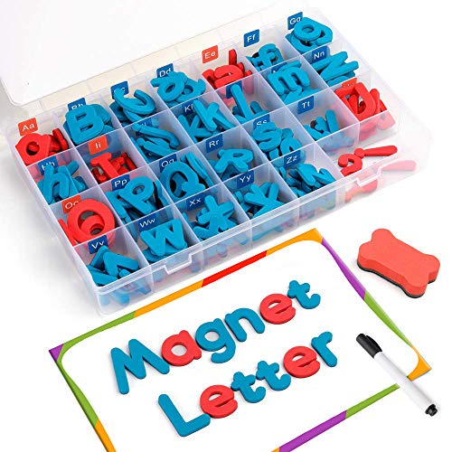 Coogam Magnetic Letters 208 Pcs with Magnetic Board and Storage Box - Uppercase Lowercase Foam Alphabet ABC Magnets for Fridge Refrigerator - Educational Toy Set for Classroom Kids Learning Spelling - Magnetic Uppercase Alphabet Letters
