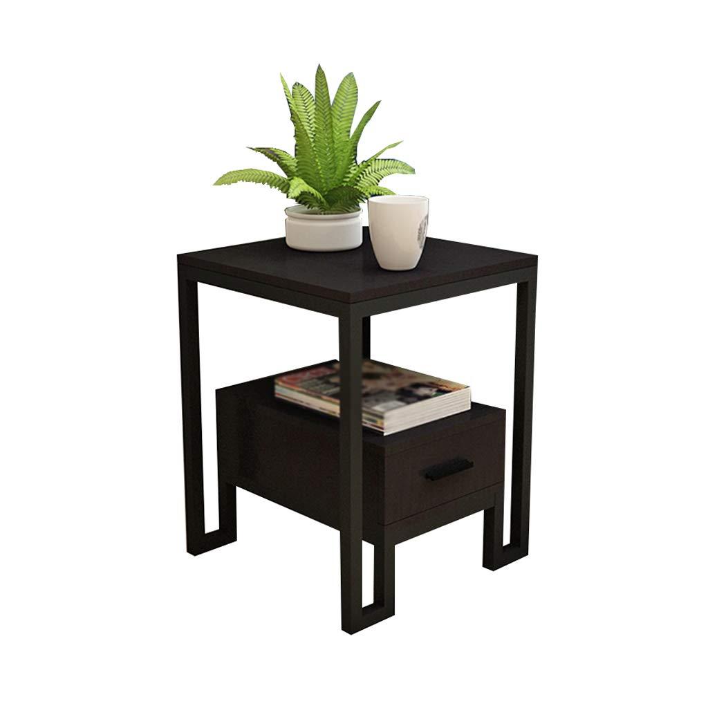 Black  2 AA Living Room Sofa Table, Bedroom Side Small Coffee Table Bedside Cabinet Side Cabinet Multifunctional Storage Cabinet Home (color   Black, Size    1)